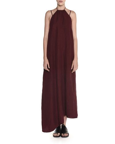15993ead1f32 W0AAC Tomas Maier Washed Linen Halter Midi Dress