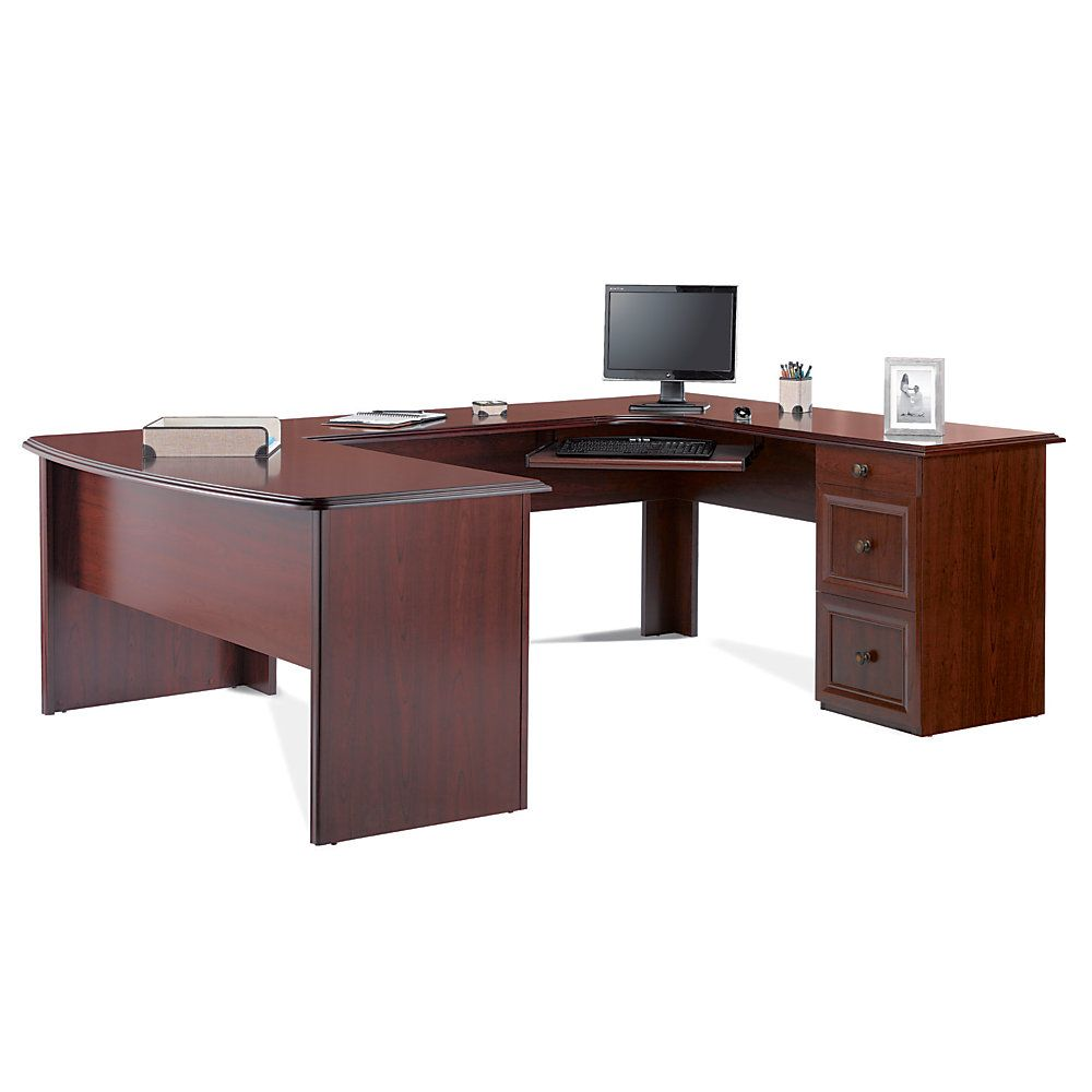 Reale Broadstreet Contoured U Shaped Desk 30 H X 65 W 28 D With 92 L Connecting Bridges Cherry By Office Depot Officemax