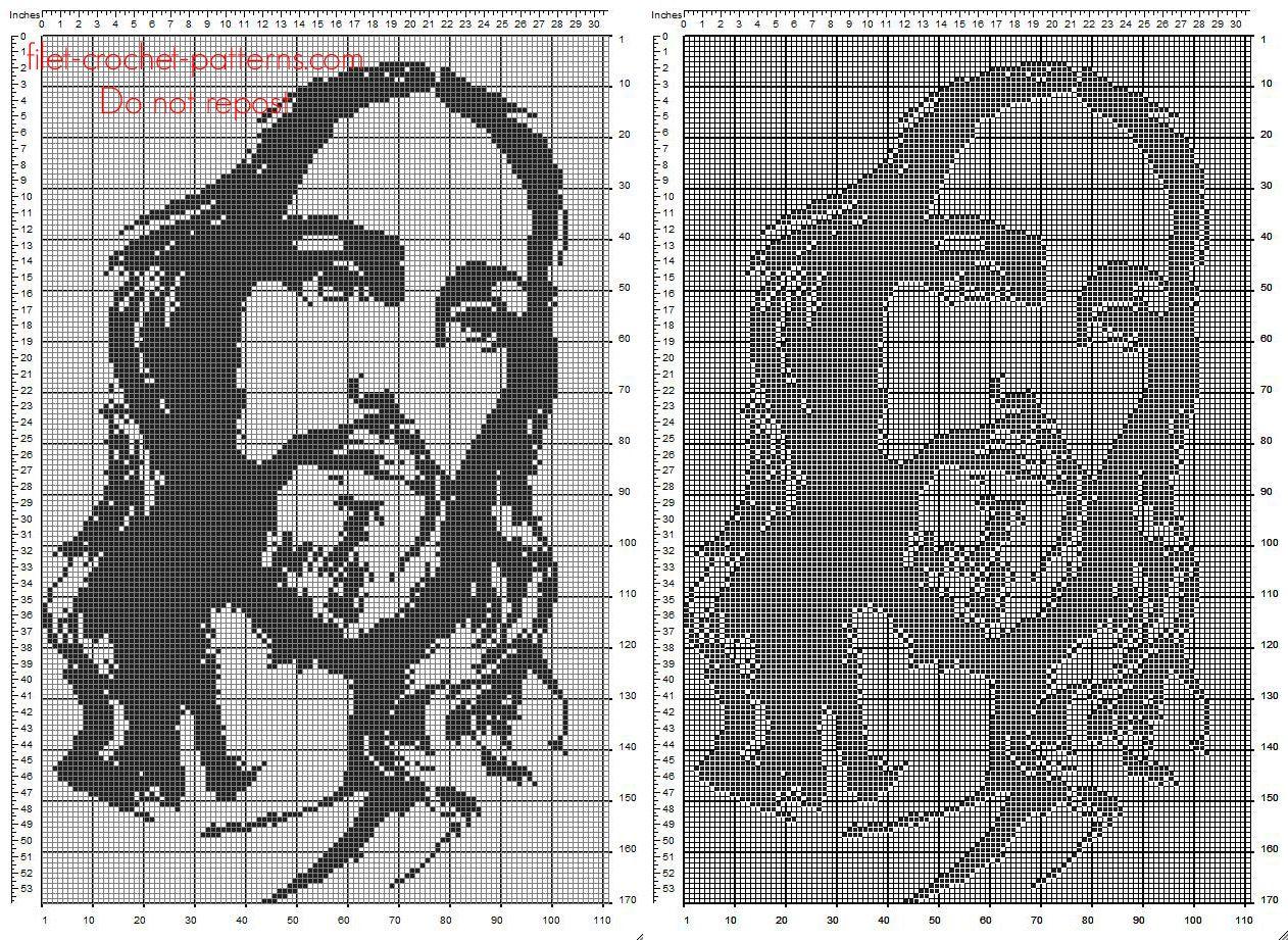 Free filet crochet pattern Jesus face 110 x 170 squares religious ...