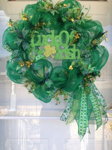 deco mesh st patricks day wreath. Black Bedroom Furniture Sets. Home Design Ideas