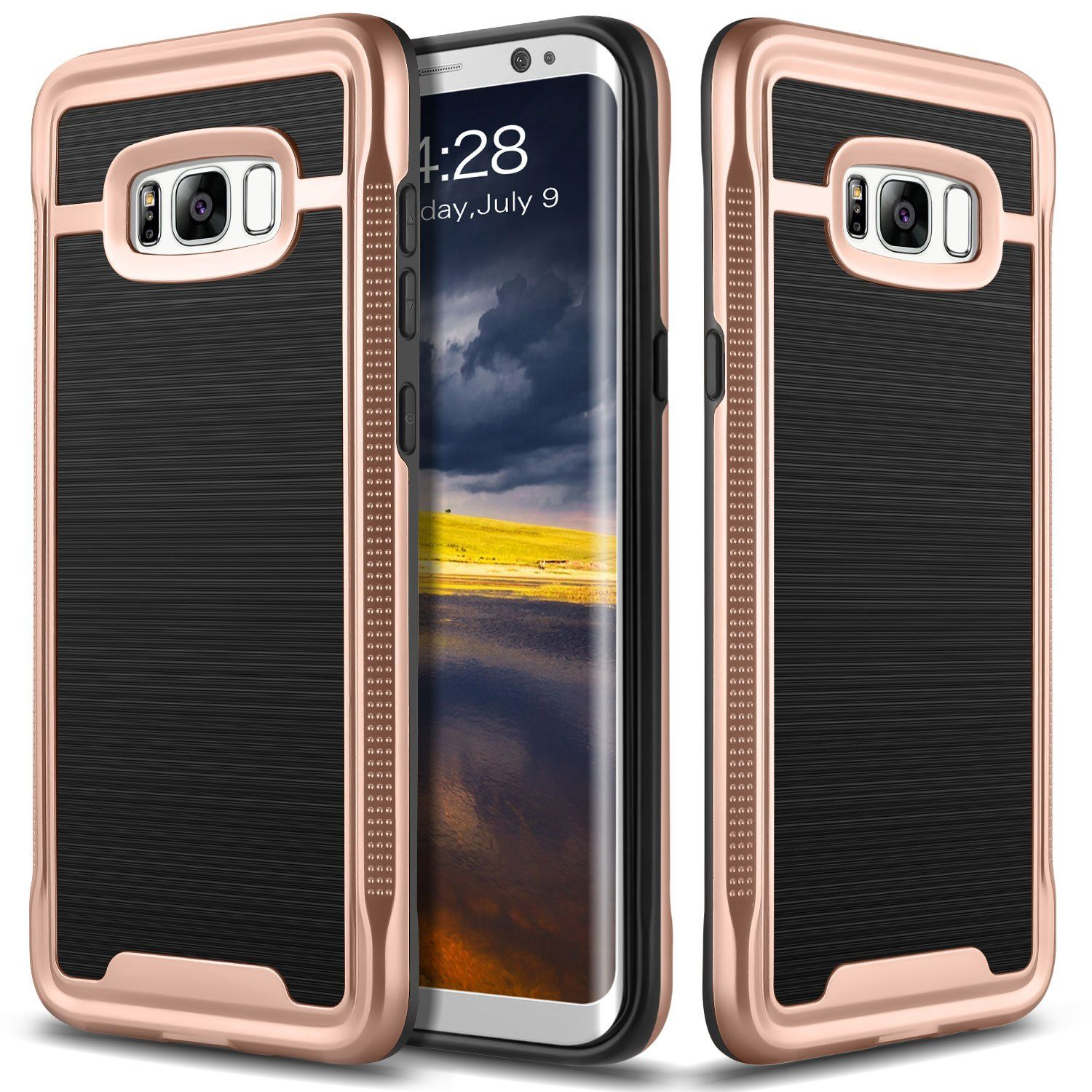 Galaxy S8 Case Ansiwee Galaxy S8 Shockproof Phone Cover Galaxy S8 Cover Soft Tpu Bumper Hard Pc Case Brushed Pc Texture Protective Armor For Samsung Galaxy S Samsung Galaxy Phone Pc