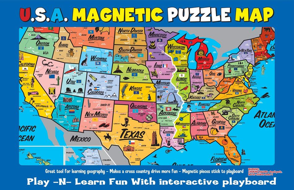 USA Puzzle Map Map puzzle, Usa map, United