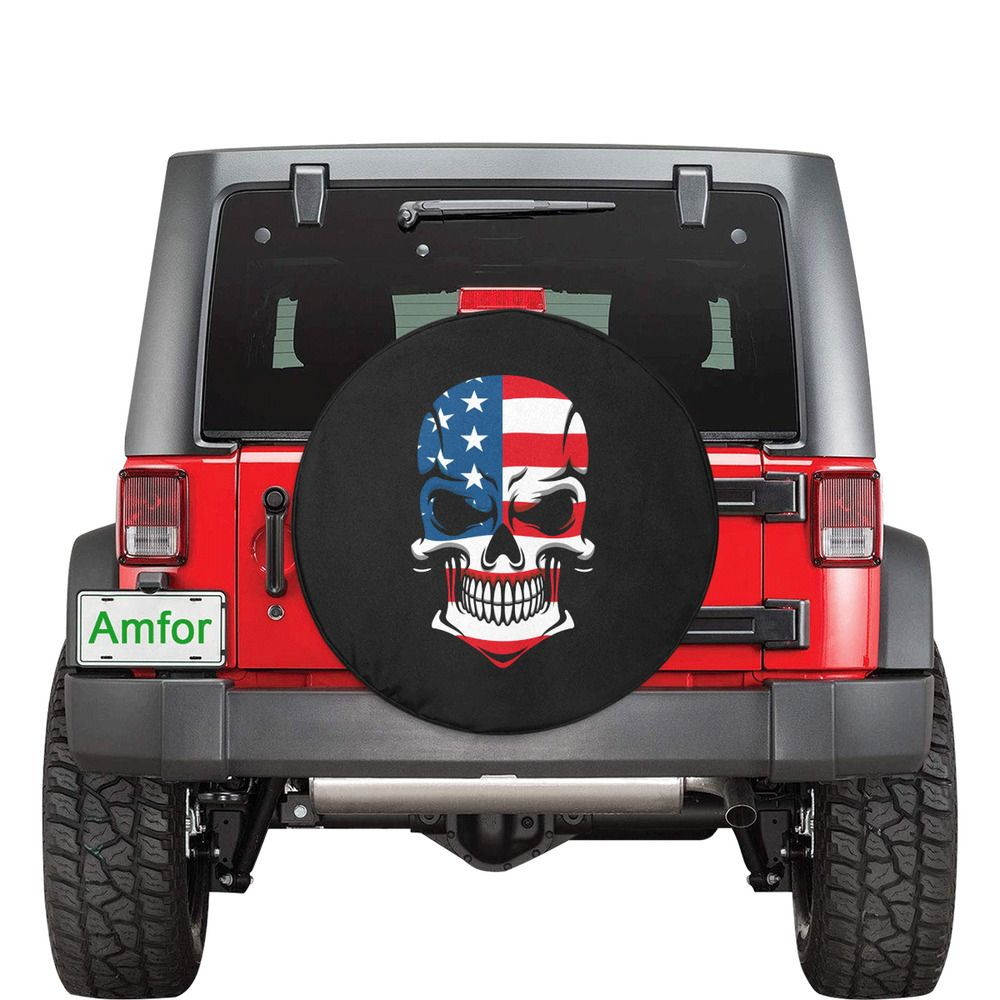 American Flag Skull Spare Tire Cover Jeep Wrangler Rubicon Rv