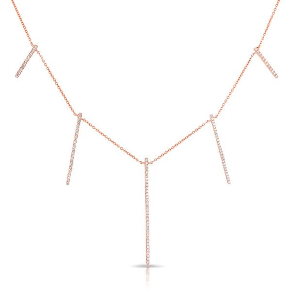 2d65e93efc2f 14kt rose gold diamond dangling long bars necklace ( 1