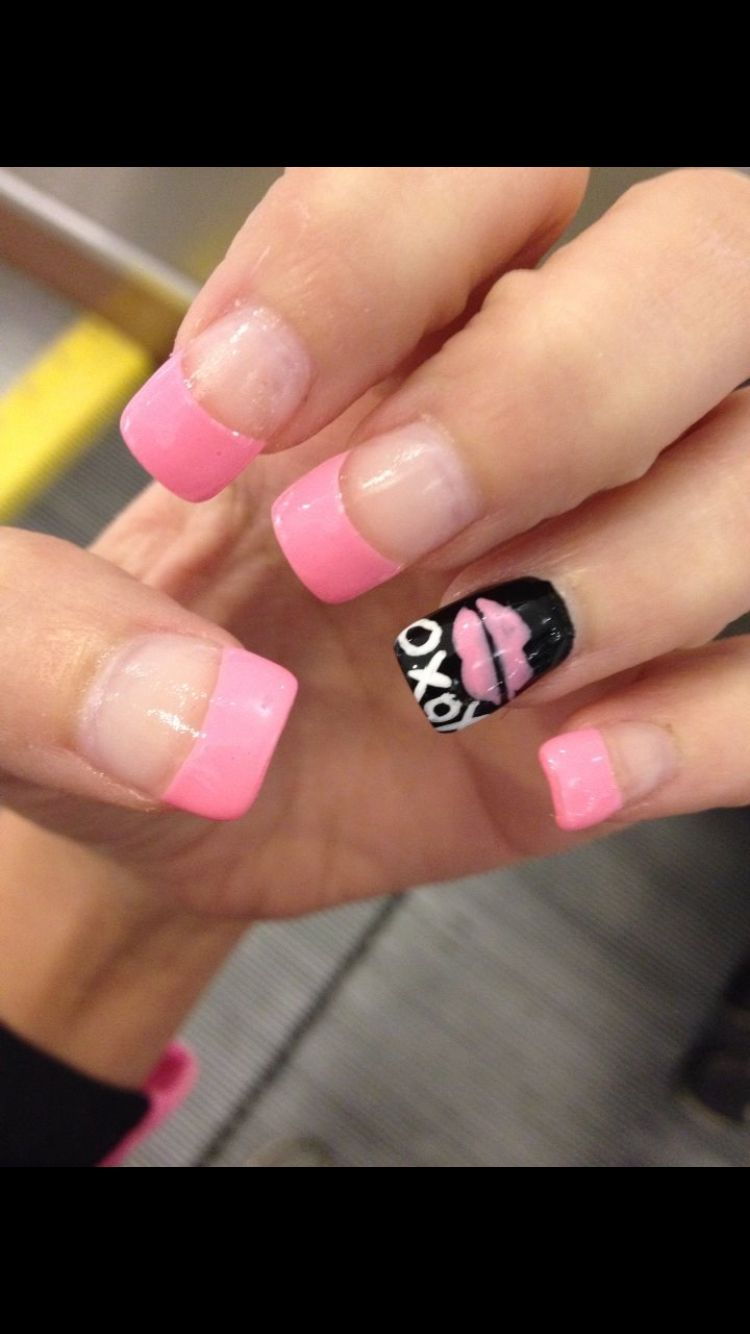Light baby pink French tip nails with black accent nail with lips ...