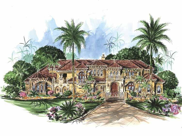 Eplans mediterranean house plan six bedroom for Eplans mediterranean house plans