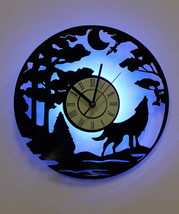 Wolf silhouette led lighting wall clock vinyl record night light wolf silhouette led lighting wall clock vinyl record night light clock aloadofball Image collections