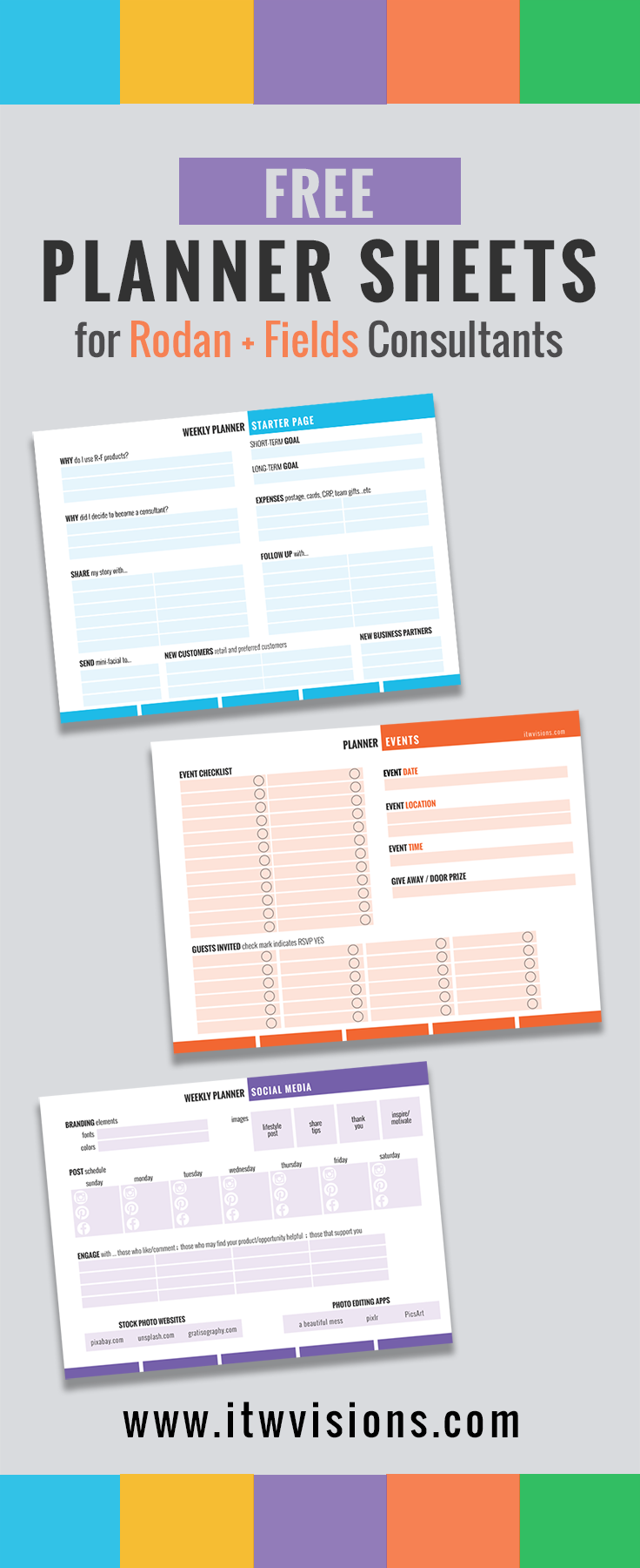 Rodan And Fields Business Checklist And Planner Sheets Calendar - Rodan and fields business card template