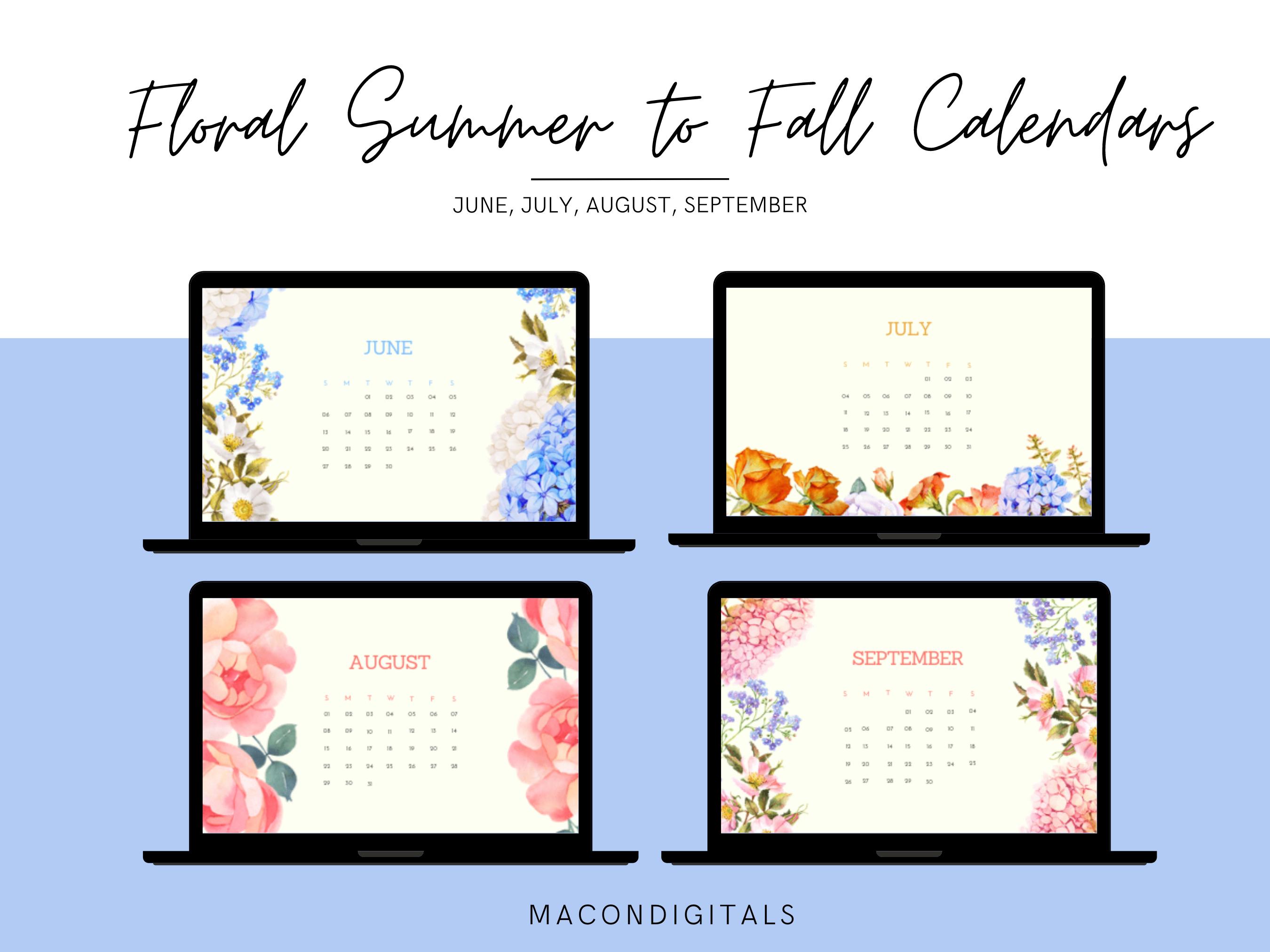 2021 Floral Desktop Calendar Wallpaper Bundle