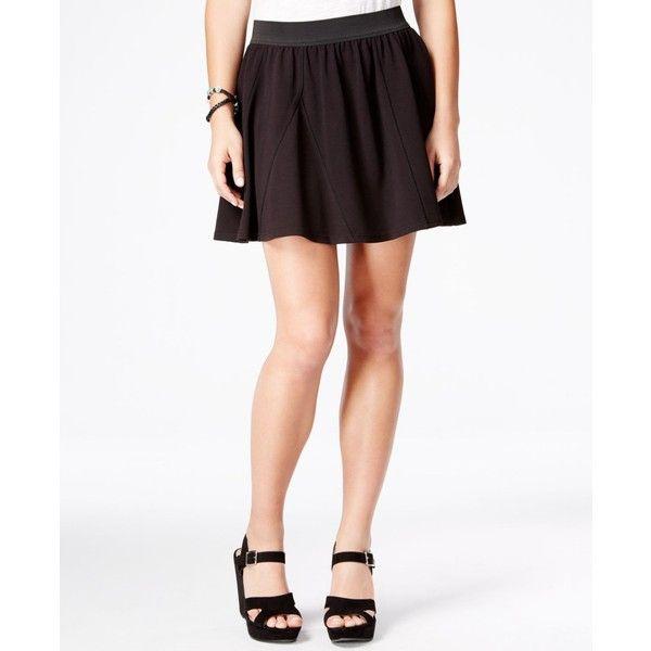 American Rag Ponte Skater Skirt, ($25) ❤ liked on Polyvore featuring skirts, classic black, flared skirt, black circle skirt, black ponte skirt, black knee length skirt and skater skirt