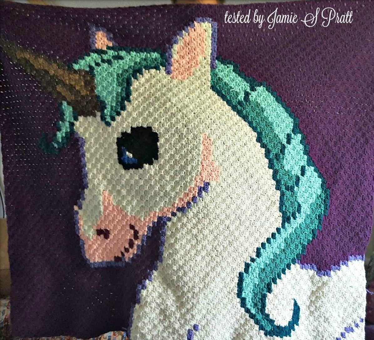 Unicorn Kids Blanket, C2C Crochet Pattern | Crochet ...