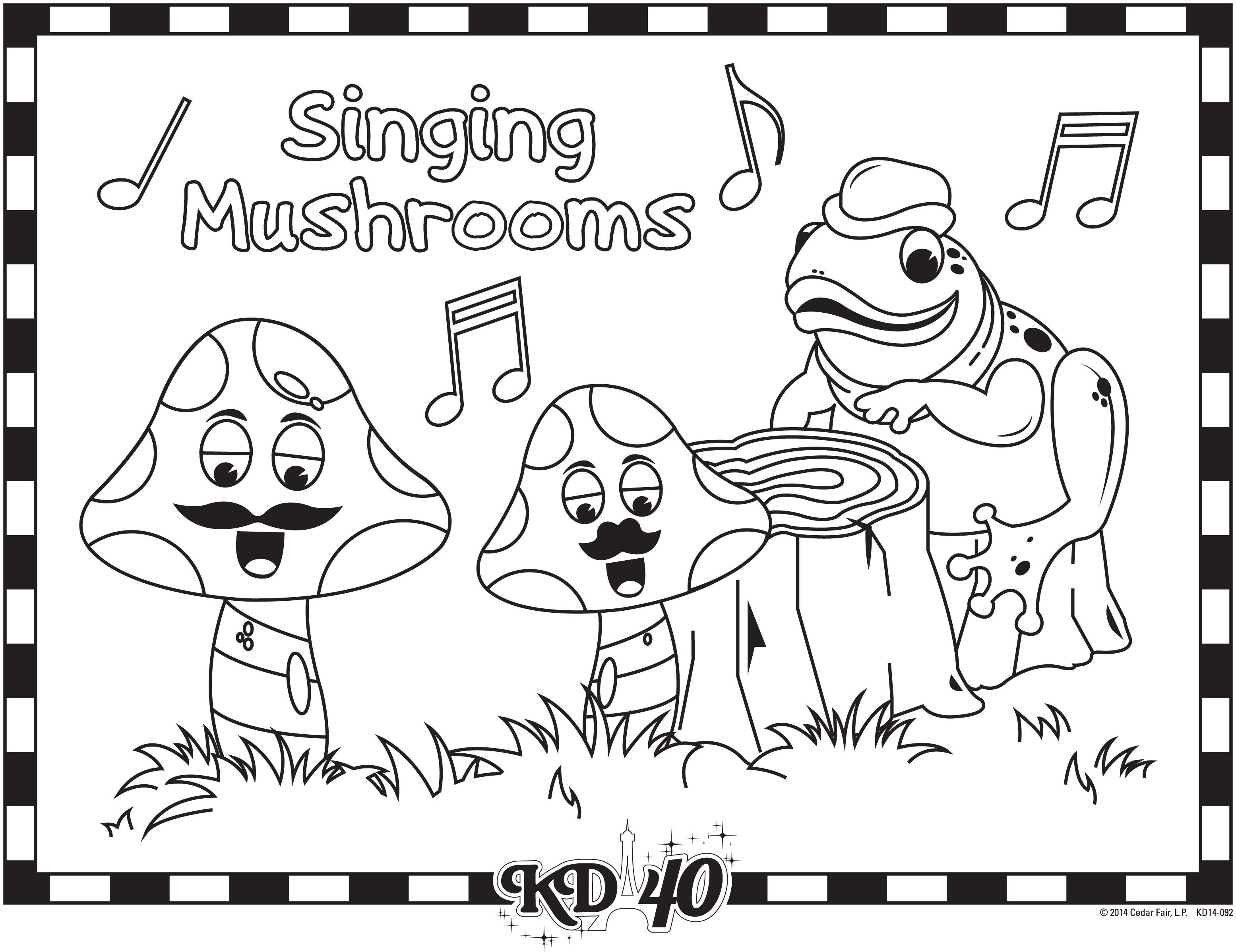 kings dominion singing mushrooms coloring pages color pages