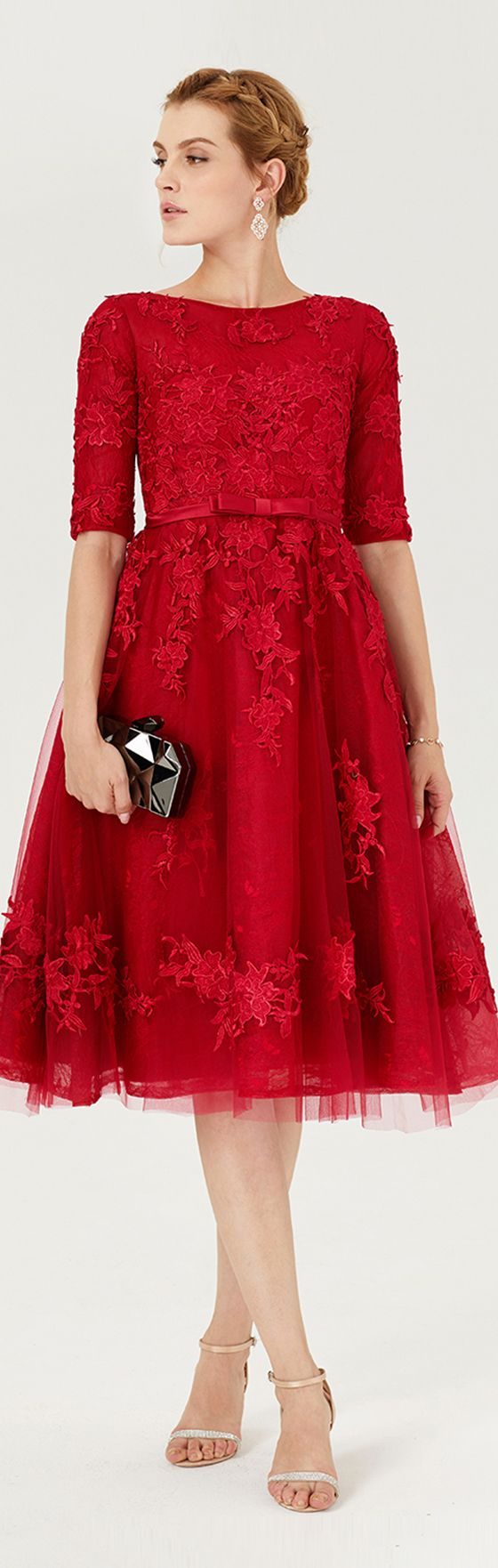 Princess jewel neck knee length lace over tulle cocktail party dress
