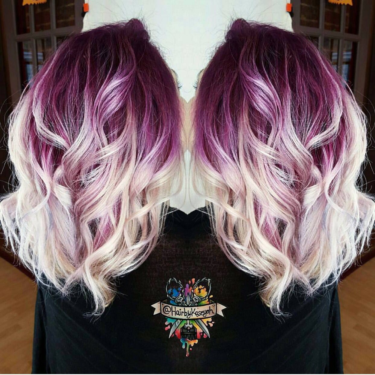 Plum purple hair color base with billowy white blonde hair by