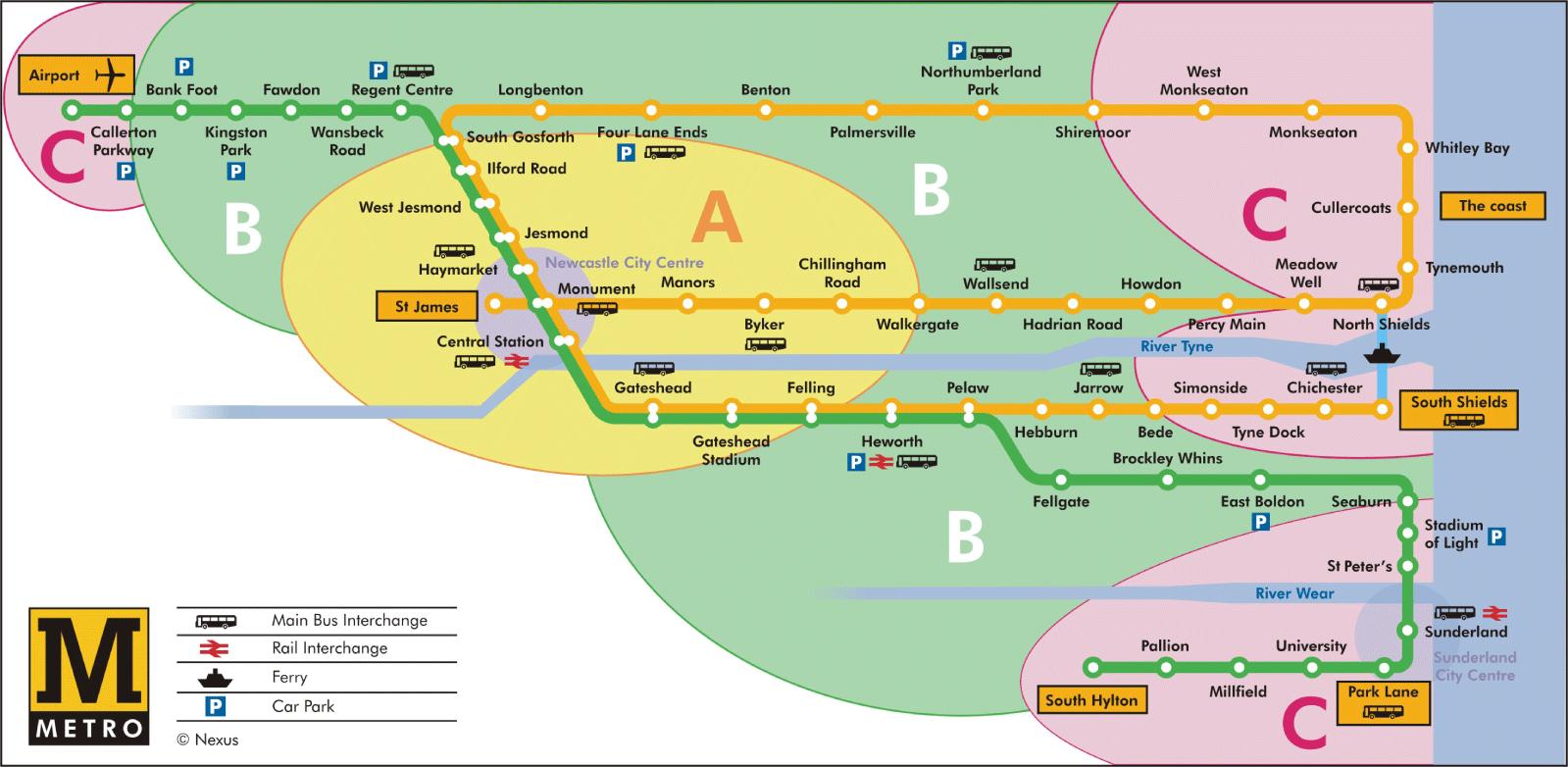 Newcastle Metro Zones  study  Pinterest  Newcastle England map