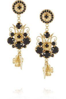 Dolce Gabbana Pizzo Nero Gold Plated Swarovski Crystal Clip Earrings Net A Porter