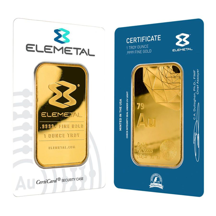Elemetal Mint 1 Oz Gold Bar 9999 Fine In Assay Buy Gold And Silver Gold Bar Gold Bars For Sale
