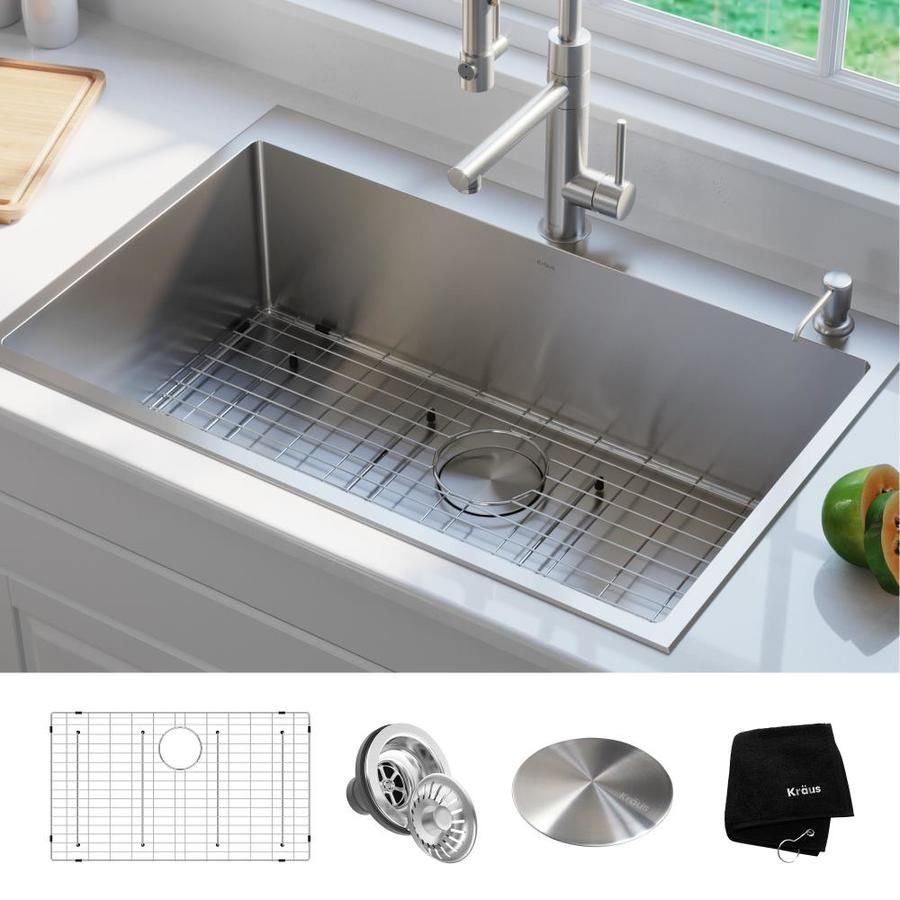 Kraus Standart Pro Drop In 33 In X 22 In Stainless Steel Single Bowl 2 Hole Kitchen Sink Lowes Com In 2021 Drop In Kitchen Sink Single Basin Kitchen Sink Single Bowl Kitchen Sink 33 x 22 kitchen sink single bowl