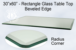 30x60 inch rectangle glass table top 3
