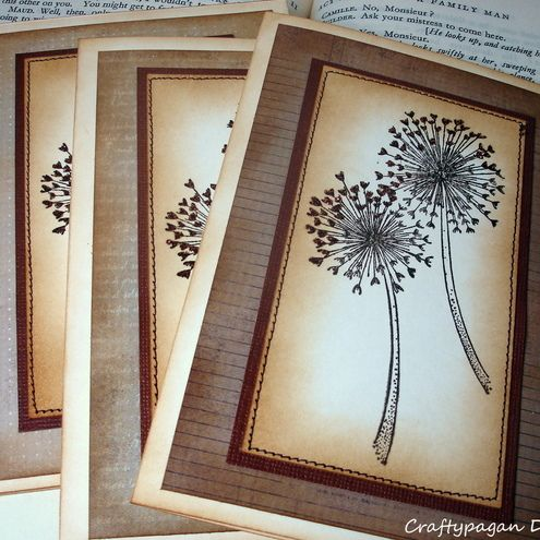 Dandelion Greeting Card Set Of 3 With Envelopes Vintage Style Stamped And Stitched Greeting Card Set Greeting Cards Handmade Cards