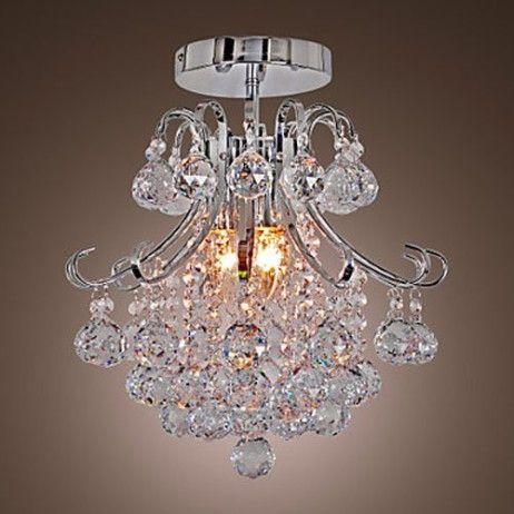 Vivreal® Modern Transparent Shade 60W Flush Mount Crystal Ceiling Chandelier Pendant Light Lighting Lamp