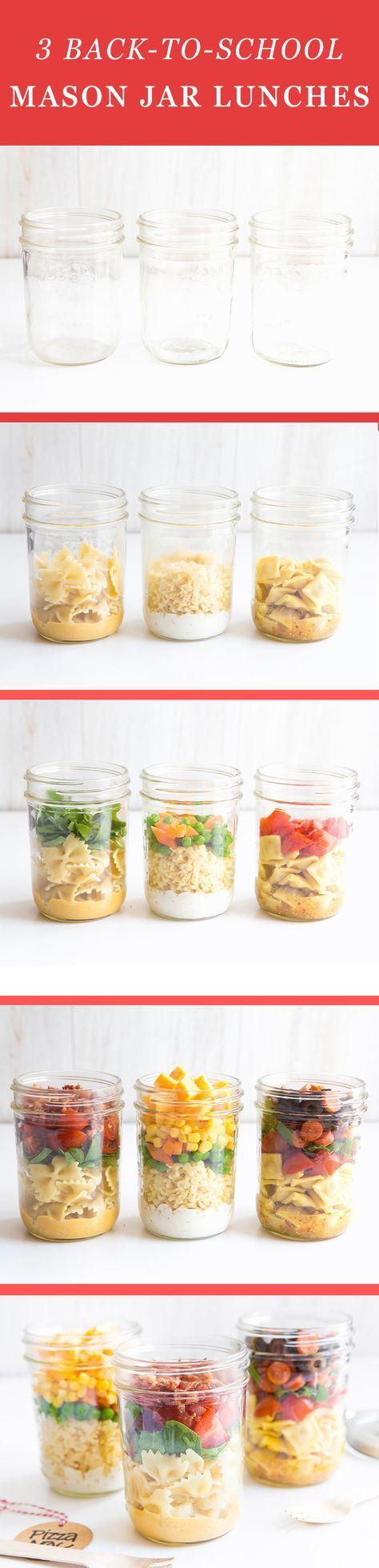 3 Back-to-School Mason Jar Lunches   Mason jar lunch, Pasta salad ...