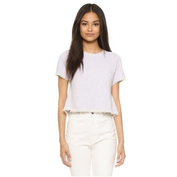 Rebecca Taylor Short Sleeve Tweed Top ($295) ❤ liked on Polyvore featuring tops, lilac, ruffle crop top, flutter-sleeve top, flutter crop top, lilac top and white top