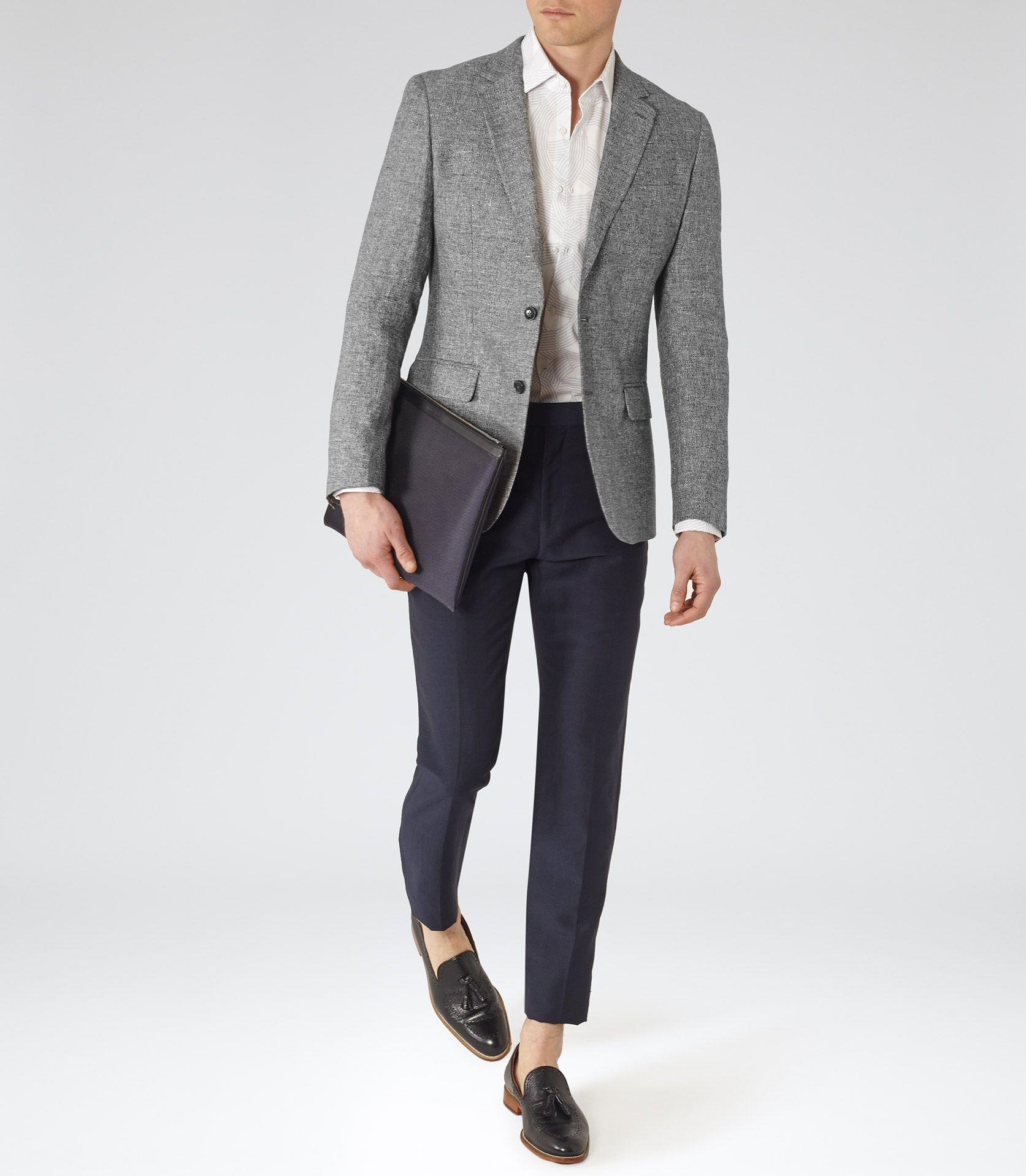 Mens Grey Melange Linen Blazer Reiss Foster B The Best