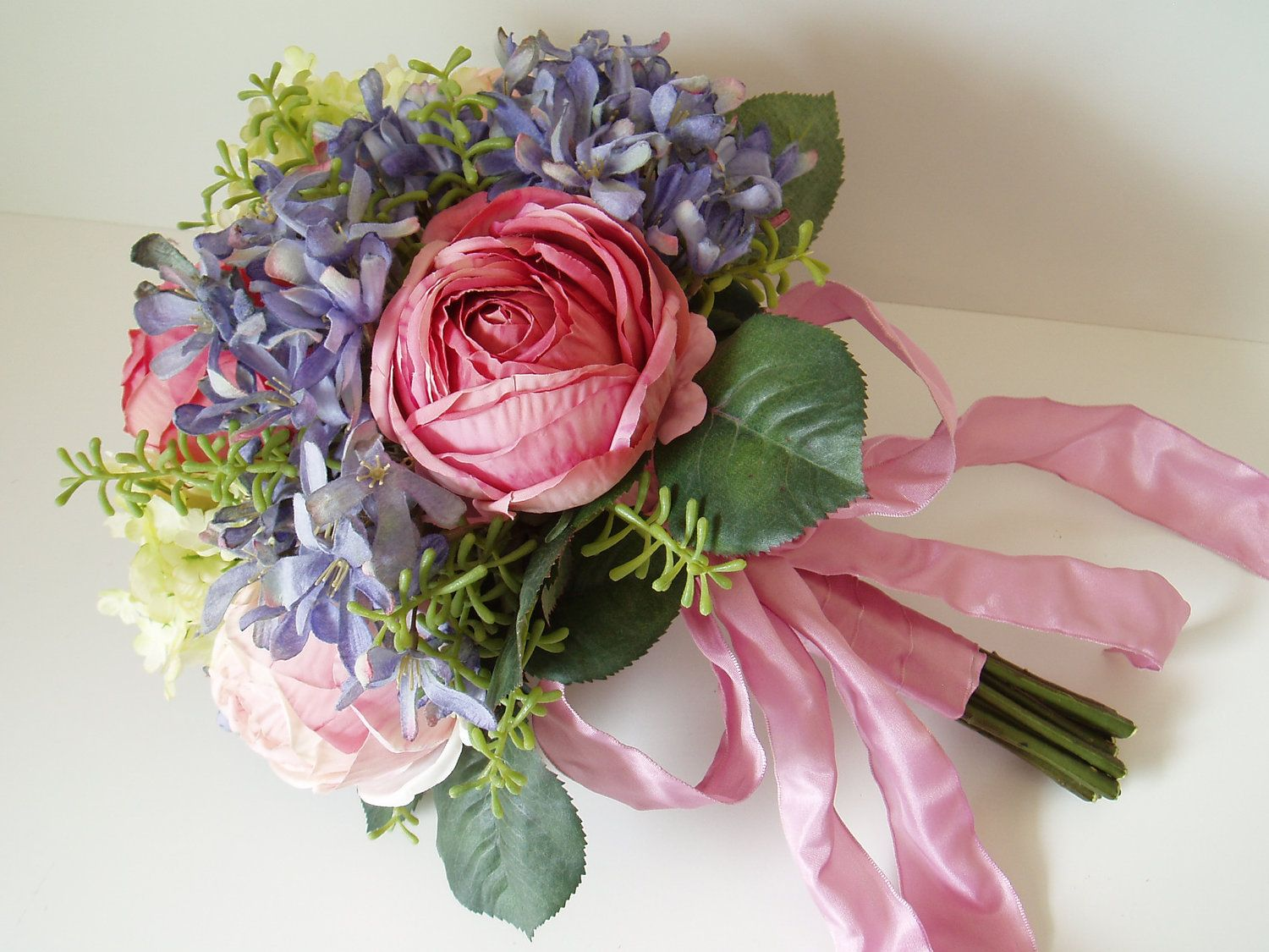 Wedding Bouquet Brides Silk Flower Set Pink Blue Purple Backyard Vintage Modern Fl