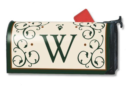 Monogram W Magnetic Mailbox Cover Initial W Mail Wrap By Mail