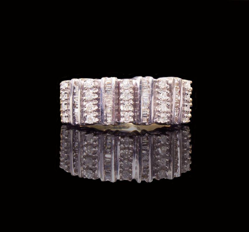 Ladies 10k White Gold 1.00 cttw Stacked Diamond Wedding Band Fashion Ring $420