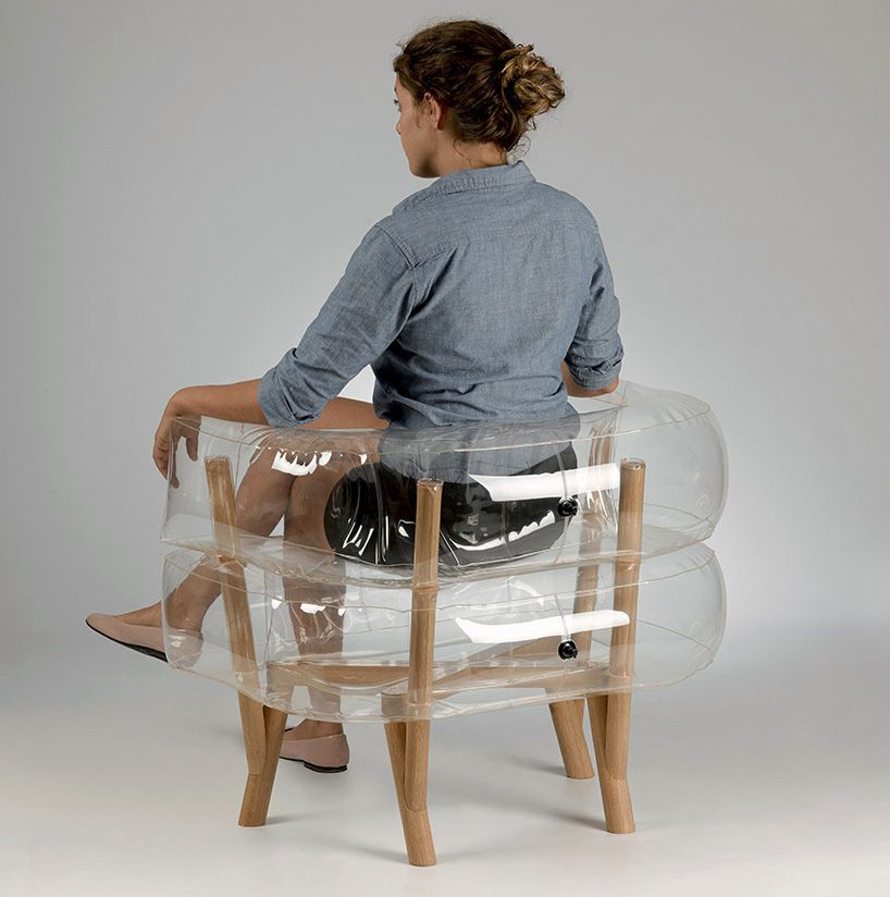 tehila guy inflates anda armchair of translucent and wooden parts