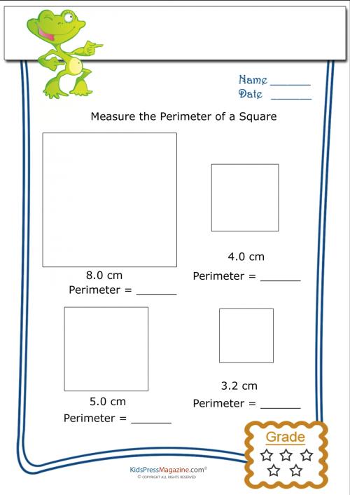 Measure Perimeter Worksheet – Square 5   Geometry   Pinterest