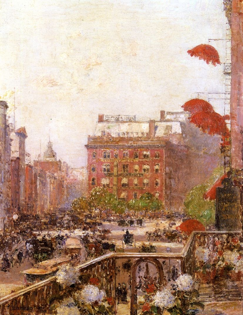 Childe Hassam - View of Broadway and Fifth Avenue, 1890