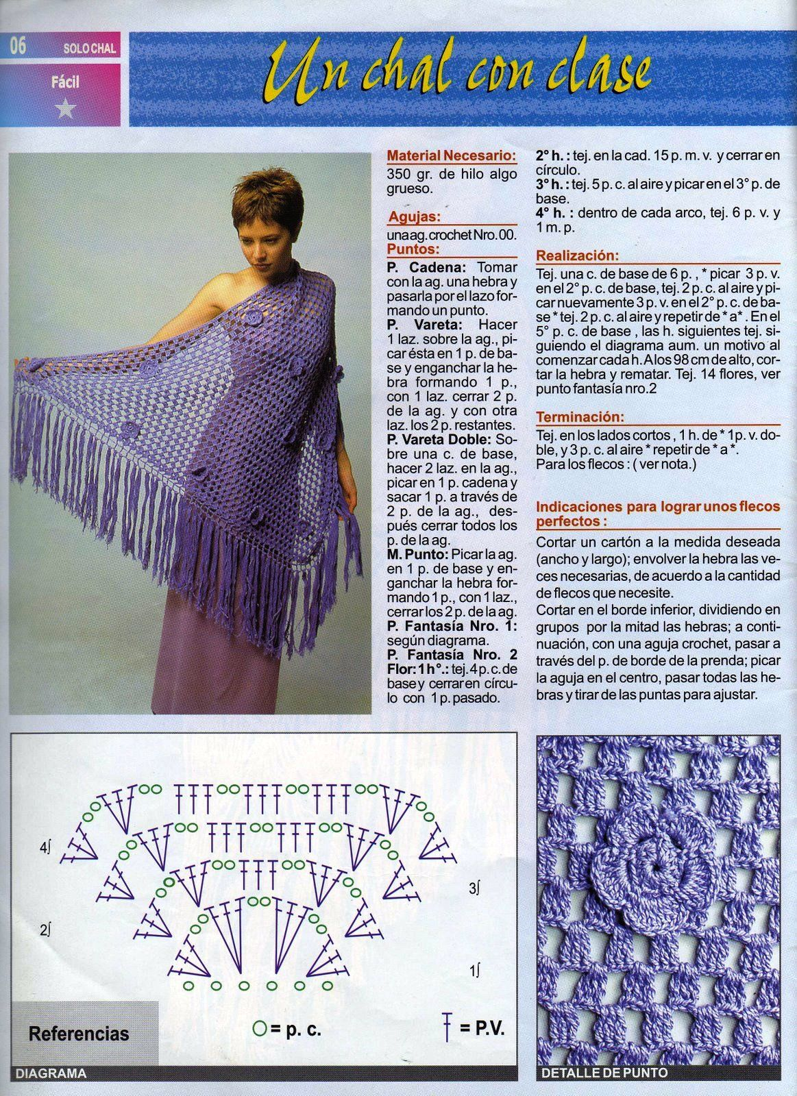 Patrones de Crochet. Chal | blusas crochet | Pinterest | Patrones de ...