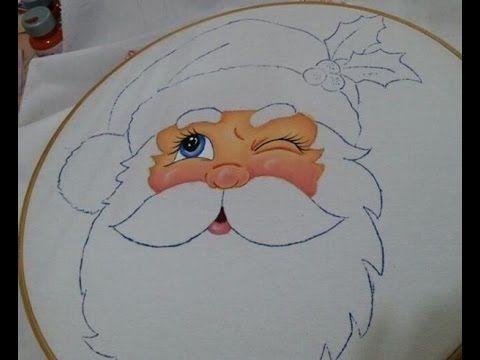 Pintura en tela cara santa 1 youtube pintura en - Dibujos navidenos para pintar en tela ...