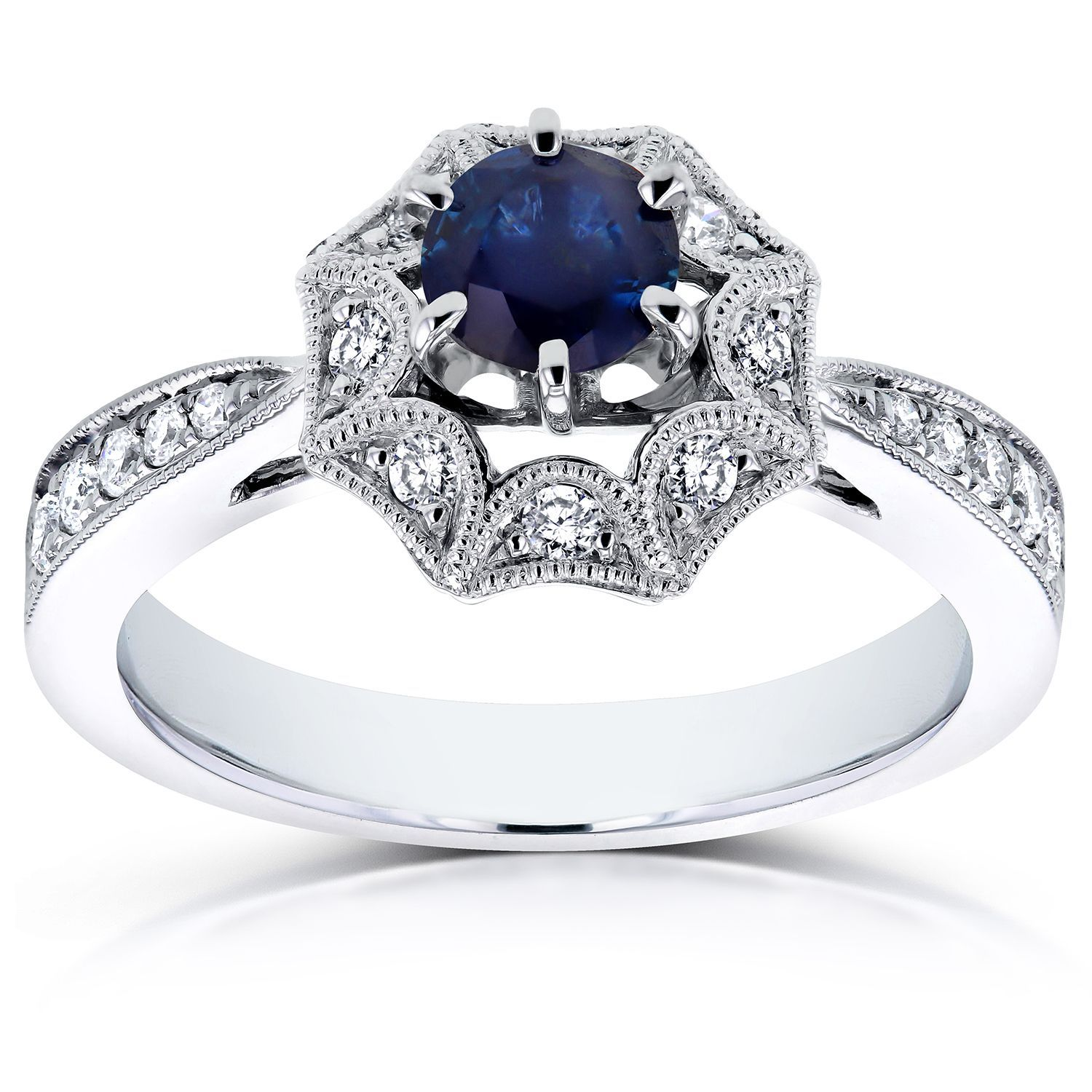Annello by Kobelli 14k White Gold Sapphire and 1/4ct TDW