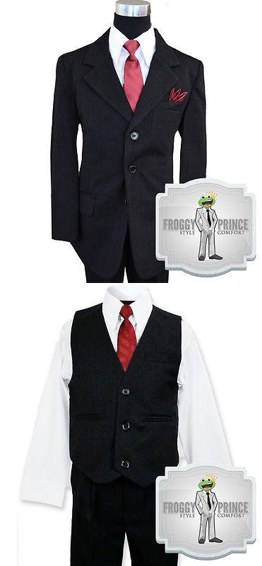 9df11e3d1d501 Suits 99754: Boys Kids Formal Black Pinstripe Three Button Suit W Tie Vest  Shirt And Pants -> BUY IT NOW ONLY: $37.99 on eBay!