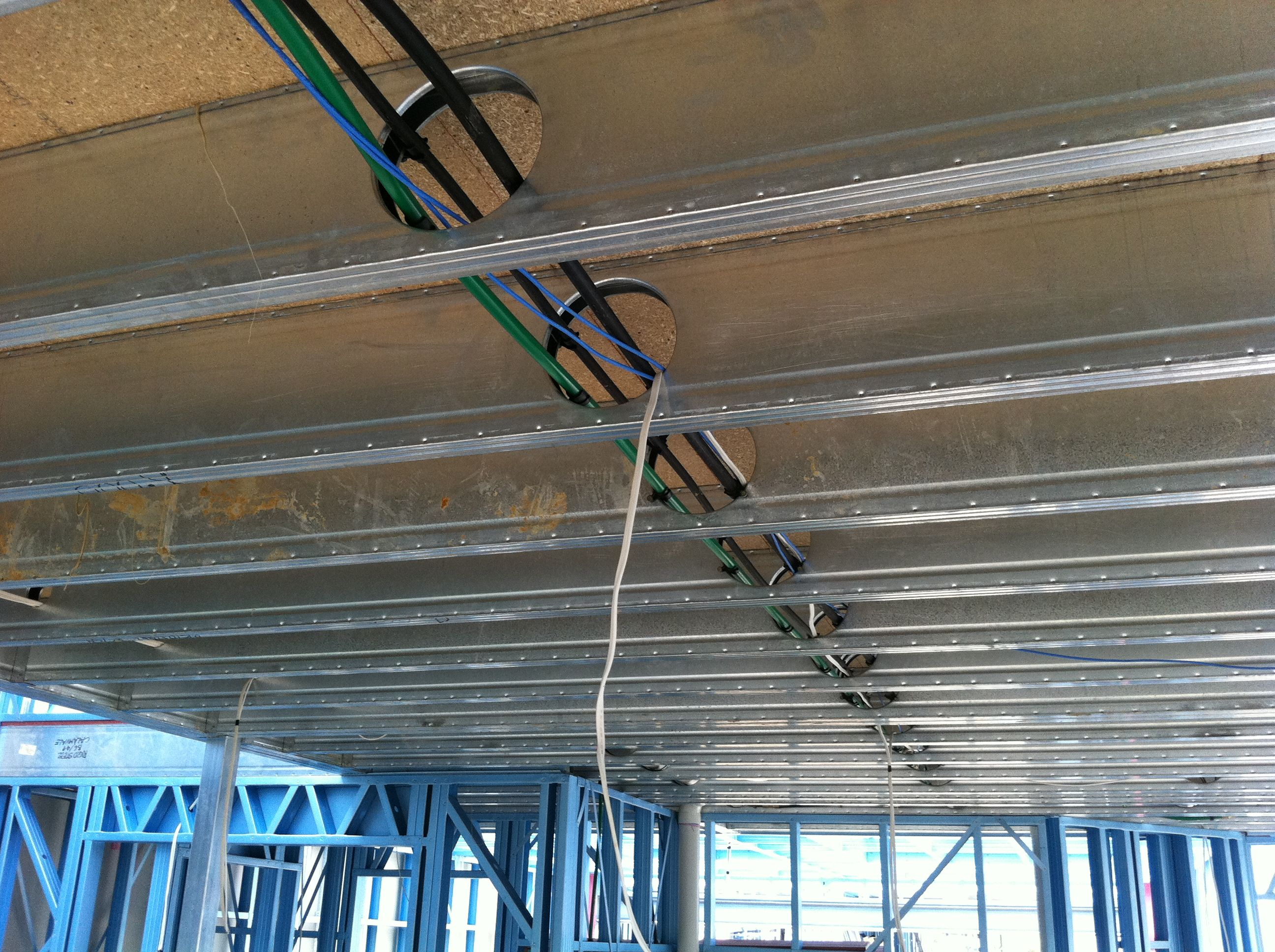Boxspan Steel Upper Floor Frame- Electrical cables in place- Steel ...