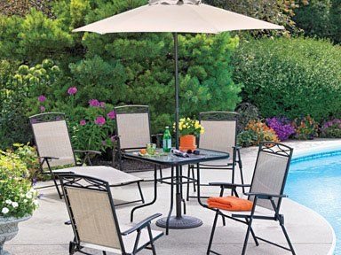 Living Accents Steel Folding Patio Set With Umbrella 6 Piece Which Includes