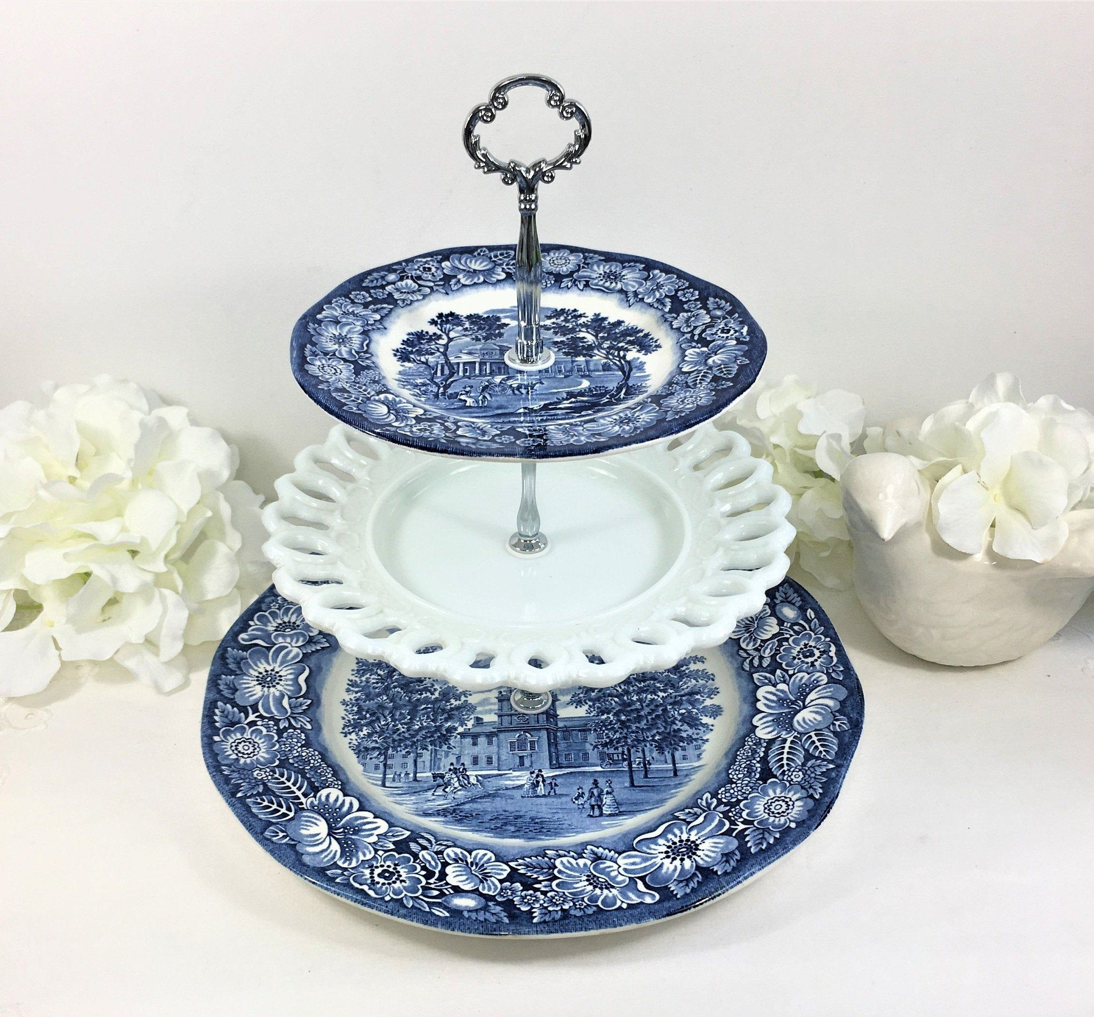 3 Tier Cake Stand Made With Liberty Blue Ironstone Plates And White Milk Glass Plate Blue And White C Tiered Cake Stand 3 Tier Cake Stand Blue And White China