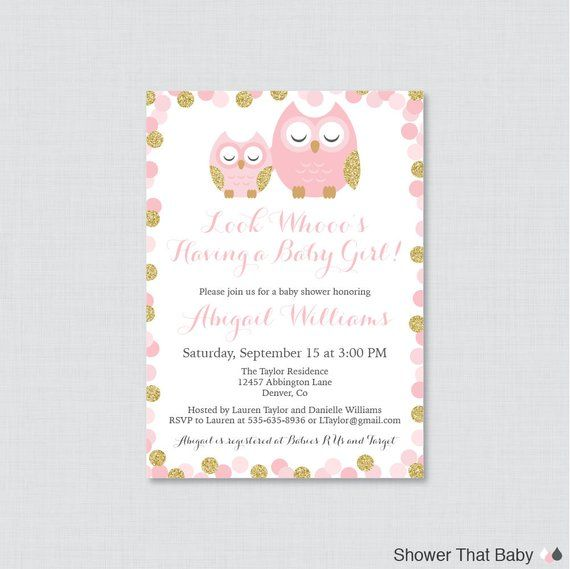 Owl Baby Shower Invitation Printable Or Printed Pink And Gold Themed Invites