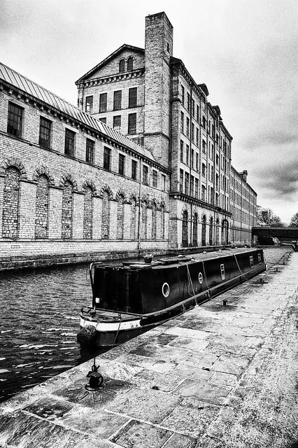 Salts Mill, Saltaire, between the Aire & Leeds Liverpool Canal. Opened in 1853 - the largest industrial building in the world.