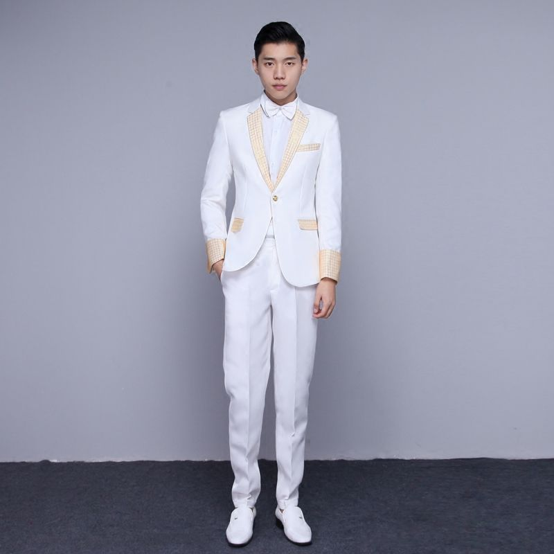 Click to Buy << suit annual dress suits gold stage host performance ...