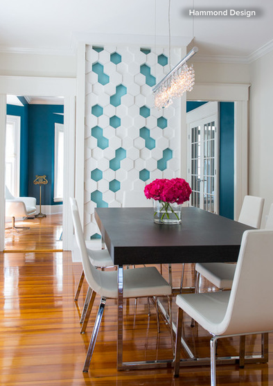 Tiles Design For Living Room Wall: 3D Tiles Give This Dining Room Unexpected Texture