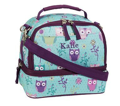 Mackenzie Turquoise Owl Lunch Bags #pbkids