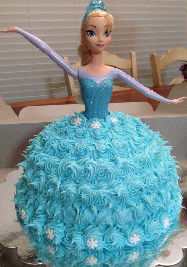 Queen Elsa cake frosting swirls Frozen birthday cake