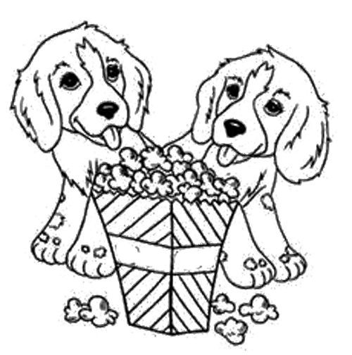 Dog Eat Popcorn Coloring Page Puppy Coloring Pages Dog Coloring Page Animal Coloring Books