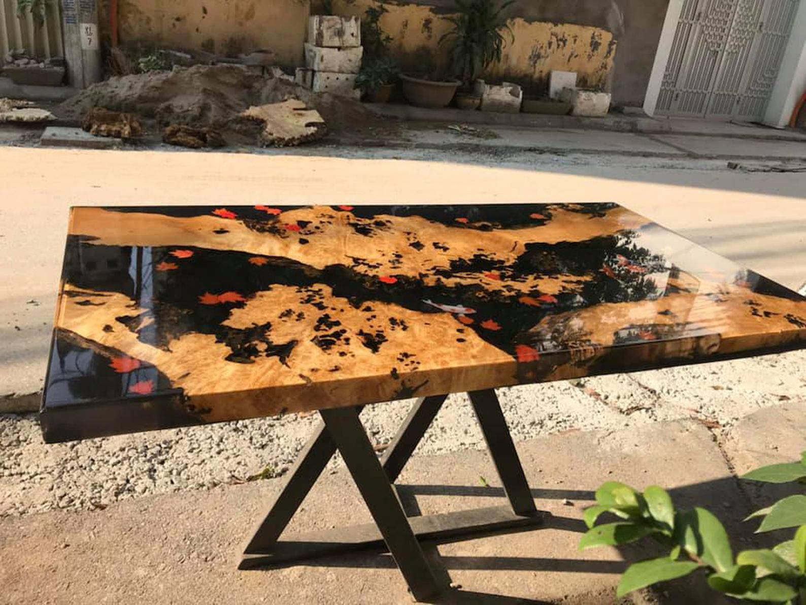Epoxy Resin Transparent Coffee Table Handcrafted Custom 3d Fish Draw Most Beautiful Table Made To Order Resin And Wood Diy Wood Resin Table Epoxy Wood Table