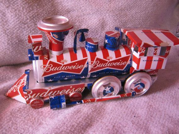 Recycled Handmade Budweiser train by CANARTCRAFTS2204 on Etsy, $29.95